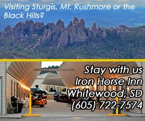 Iron Horse Inn - along I-90 : Excellent value lodging year-round, w/covered access parking for cars & bikes. Close to Spearfish, Bear Butte Park and Sturgis. Offering tent camping & RV spaces in summer months.