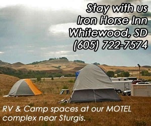 Iron Horse Inn - Great RV and camping site located at our motor Inn along I-90 in Whitewood, SD. Excellent value lodging year-round, w/covered access parking for cars & bikes. Close to Spearfish, Bear Butte Park and Sturgis.