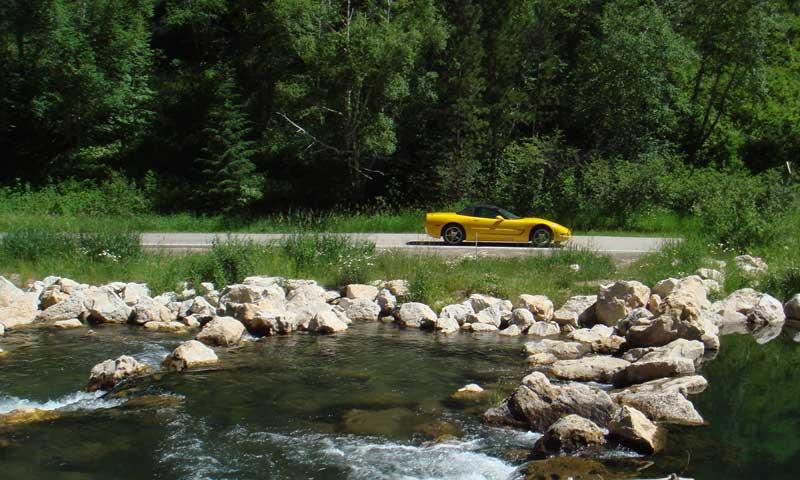 Corvette on a Black Hills Scenic Drive