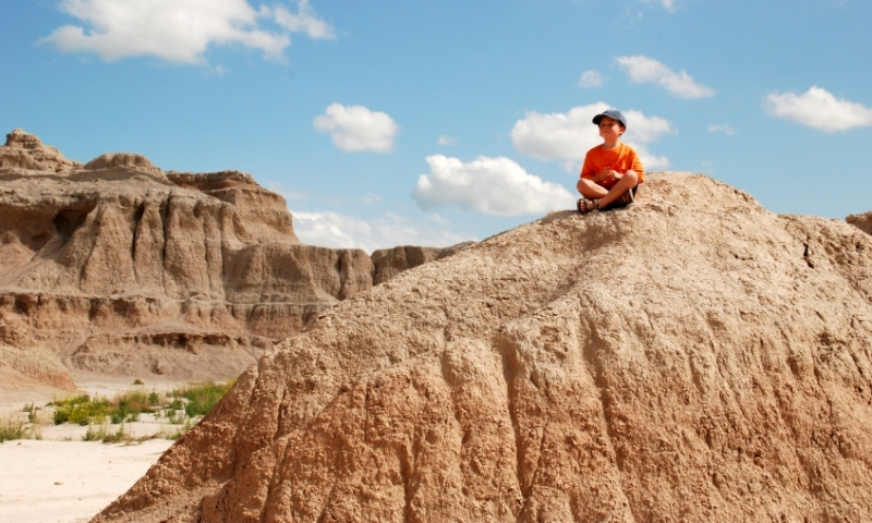 Young boy in Badlands National Park
